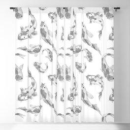 Cute gray white watercolor oriental koi fish pattern Blackout Curtain
