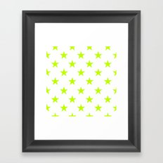 Stars (Lime/White) Framed Art Print