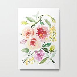 Peonies, Craspedia, Fever Few, Chunamum, Dahlia, Liatris Floral Watercolor Painting by Tzechee Metal Print
