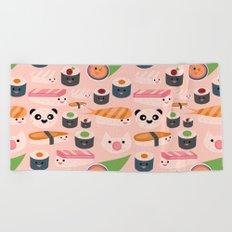 Kawaii sushi light pink Beach Towel