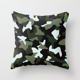 Green White camo camouflage army pattern Throw Pillow
