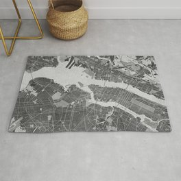 Vintage map of New York City in gray Rug