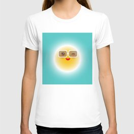 Kawaii funny sun with sunglasses pink cheeks and wink at eyes T-shirt