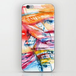 Abstract watercolor painting with faces iPhone Skin
