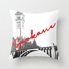 Spokane Clock Tower Monroe Street Bridge Throw Pillow