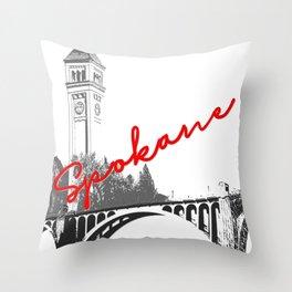 Spokane Clock Tower Monroe Street Bridge Throw Pillow