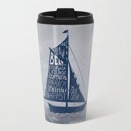 Great Gatsby Hand-Lettered Boat Art Travel Mug