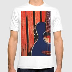 6 Strings and a Barn MEDIUM White Mens Fitted Tee