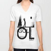 golf V-neck T-shirts featuring Golf, golf, golf! b&w by South43