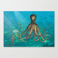 Octopus & The Diver Canvas Print
