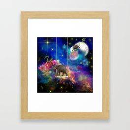 Space elephants Framed Art Print