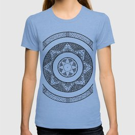 Flower Star Mandala - White Black T-shirt