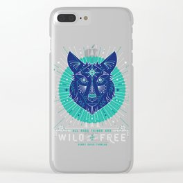 Wild & Free Wolf – Navy Clear iPhone Case