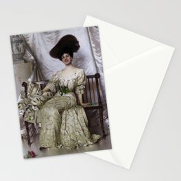 Vittorio Matteo Corcos - Portrait of Contessa Nerina Pisani Volpi di Misurata Stationery Cards
