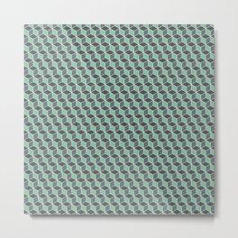 Pistachio Grey Seamless Cube Pattern Metal Print