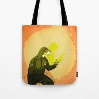 kermit Tote Bags featuring kool kermit by Kingu Omega