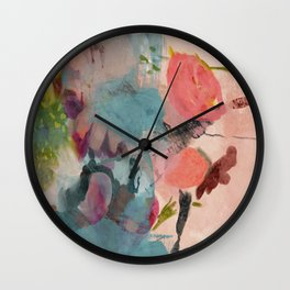 pink summer roses 3 triptych abstract Wall Clock