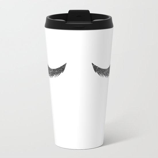 Lashes Black Glitter Mascara Metal Travel Mug