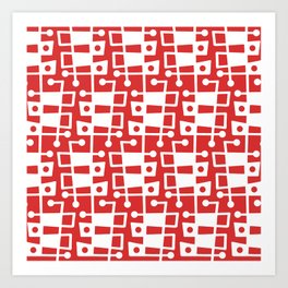 Mid Century Modern Abstract 213 Red Art Print