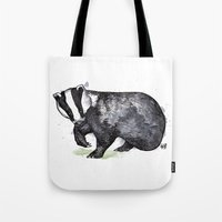 badger Tote Bags featuring Badger by ZOO (William Redgrove)