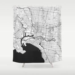 Melbourne City Map Gray Shower Curtain