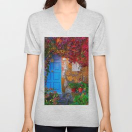 Picturesque Red Ivy with Light Blue Doorway Photograph Unisex V-Neck