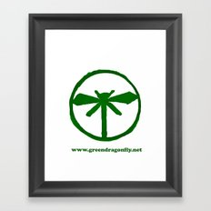 Green Dragonfly Logo T-Shirt Framed Art Print