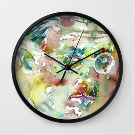 JAMES JOYCE - watercolor portrait.4 Wall Clock