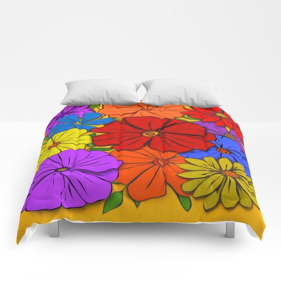 Abstract #346 Flower Power #3 Comforters