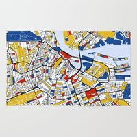 mondrian Area & Throw Rugs featuring Amsterdam Mondrian by Mondrian Maps