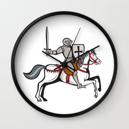 Knight Steed Wielding Sword Cartoon Wall Clock