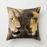 lions Throw Pillows featuring Lions by Julie Hoddinott