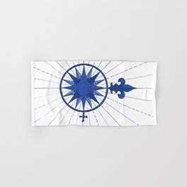 Nautical French Blue Compass Rose Hand & Bath Towel