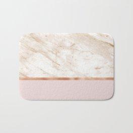 Caramel marble on rose gold blush Bath Mat