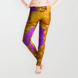 MODERN GOLDEN PATTERNS PURPLE FLORALS DESIGN Leggings
