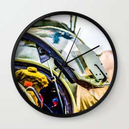 Open Canopy Of A Modern Attack Helicopter Cockpit Wall Clock