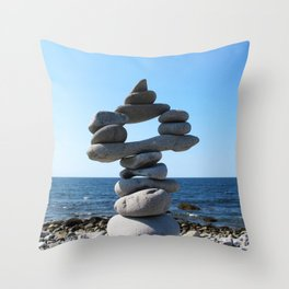 Watercolor People in Nature, BS, Rock 01, Kejimkujik by the Sea, Nova Scotia, Canada Throw Pillow