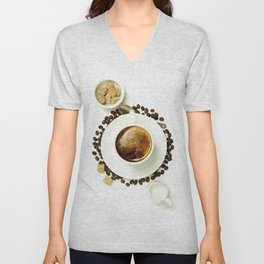 Top view of a cup of coffee, isolate on white Unisex V-Neck