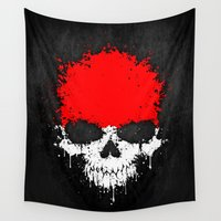 indonesia Wall Tapestries featuring Flag of Indonesia on a Chaotic Splatter Skull by Jeff Bartels