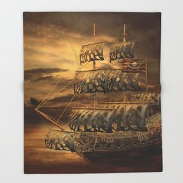 Pirate Ship Throw Blanket