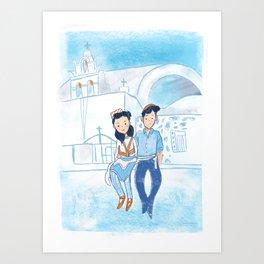 Santorini Couple Art Print