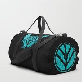 Shield Maiden Winged Teal Viking Shield Duffle Bag