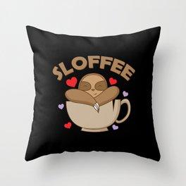 "Sloth and coffee ""Sloffee"" Throw Pillow"