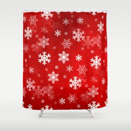 Light Red Snowflakes Shower Curtain
