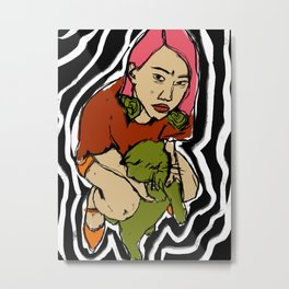 A Girl With A Cat Metal Print