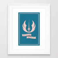 jedi Framed Art Prints featuring Jedi Blueprints by Travis English