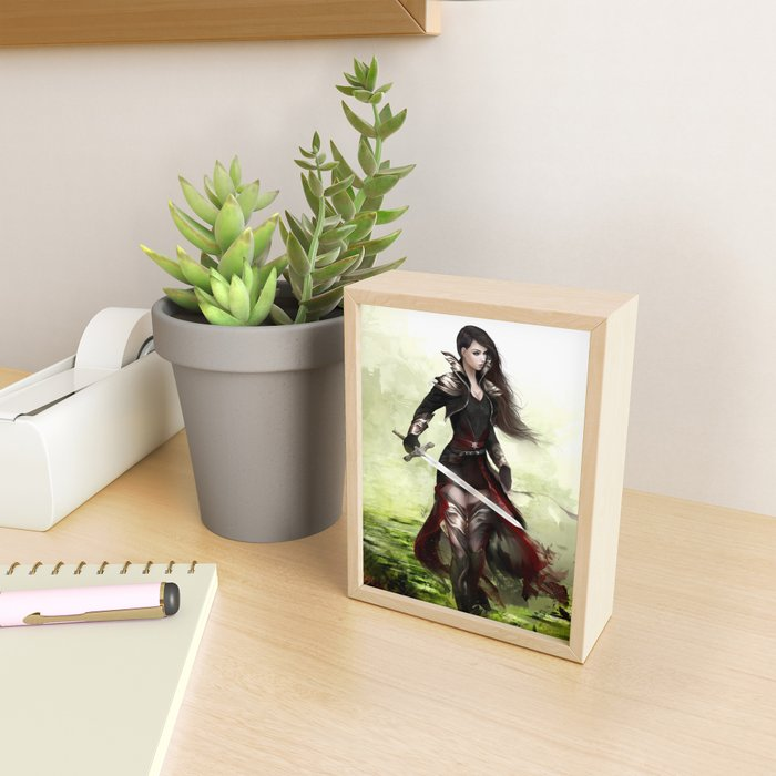 Lady knight - Warrior girl with sword concept art Framed Mini Art Print