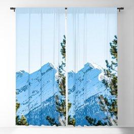 Through the Trees // Snowy High Mountain Pass Alpine Adventure Crisp Blue Sky Blackout Curtain