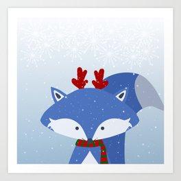 Cute Fox Wintery Holiday Design Art Print