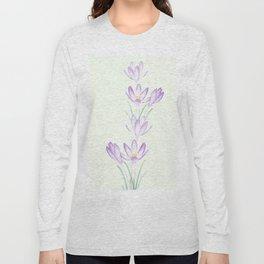 purple botanical crocus flowers Long Sleeve T-shirt